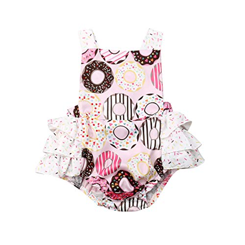 Lamuusaa Newborn Baby Girls Fly Sleeve Ruffled