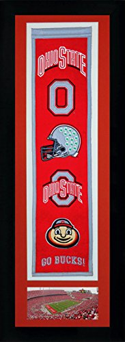 NCAA Ohio State Buckeyes Legends Never Die Team Heritage Double Matted & Framed Banner with Photo, Team Colors, 15'' x 42'' by Legends Never Die