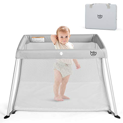 BABY JOY Baby Playpen, Ultra-Light Aluminum Portable Travel Crib with Comfy Mattress & Oxford Carry Bag, GrayProtection, Including Bottle Brush