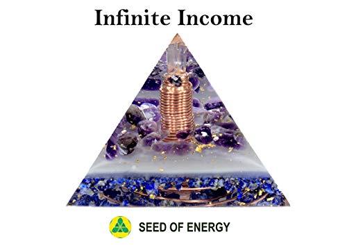 (Orgonite Orgone Pyramid - Energy Generator - Infinite Income - Crystal Gemstone - Quartz Amethyst Lapis Lazuli Moldavite Iolite - Large & Powerfull! Add Yours to Cart)