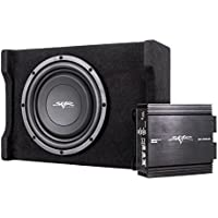 Skar Audio Single 10 350 Watt Loaded Shallow Subwoofer Enclosure Bass Package with Amplifier and Wiring