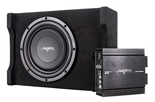 skar audio single 10 quot 350 watt loaded shallow subwoofer enclosure bass package with amplifier