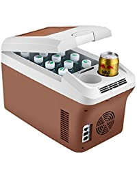 HM&DX Mini Fridge Cooler Warmer,Car Home Portable Compact Mini Refrigerator Freezer Shoulder Strap Energy Efficient-brown