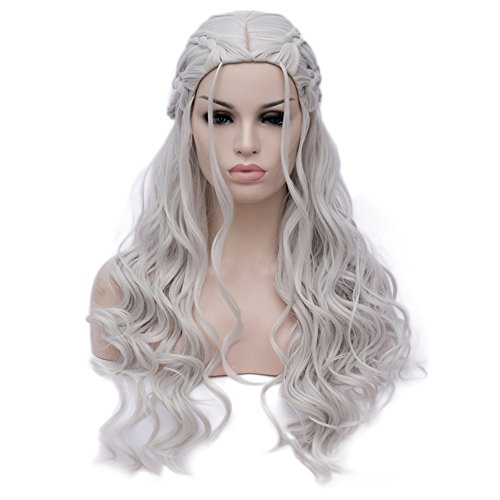[Bopocoko Game of Thrones Wigs Costume Cosplay Wig Daenerys Targaryen Long Curly Silver Hair Wigs Can Be Curled for Women Halloween Theme Party A-BU121S] (Daenerys Costumes Game Of Thrones)