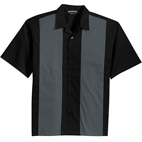 Clothe Co. Mens Retro Bowling Camp Shirt, Black/Steel Grey, L