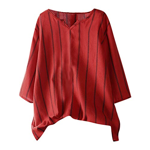 (Holzkary Women's Fashion Casual Vertical Striped V-Neck Loose Fit Seven-Quarter Blouse Top Shirts(XL(16).Red))