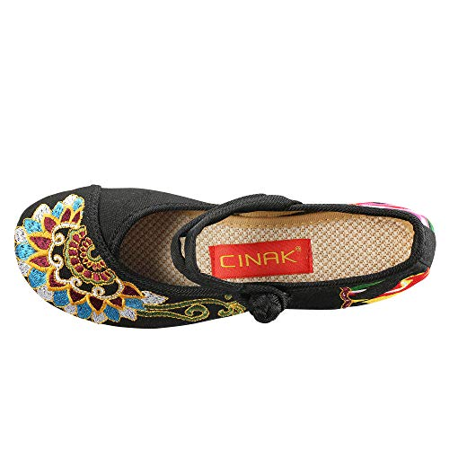 c8cac0946 CINAK Embroidered Flats Shoes Women's Chinese Embroidery Ballet Slip on Comfortable  Bohemia(9.5-10B