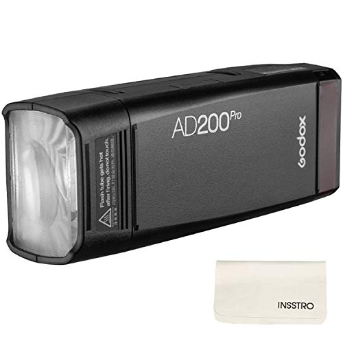 Godox AD200Pro Pocket Flash 2.4G TTL Speedlite Flash Strobe 1/8000s HSS Monolight with 2900mAh Lithium Battery 200WS and Bare Bulb Flash Head to Cover 500 Flashes and Recycle in 0.01-1.8 Sec