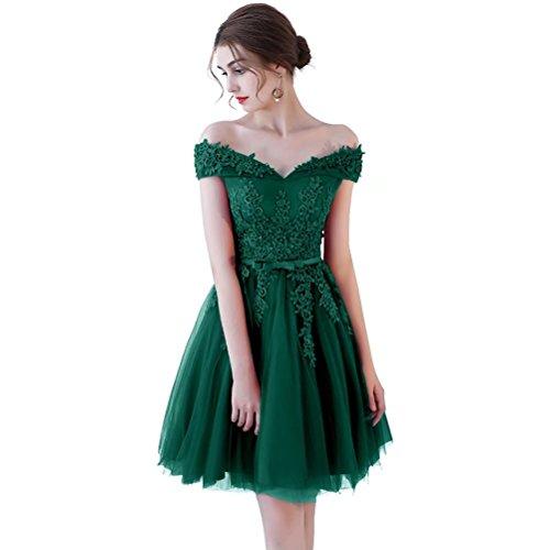 Robes Retour À La Maison En Dentelle Courte Des Femmes Cocktail Robe De Fête D'épaule Robes Formelles 2018 Nouvelles A-vert