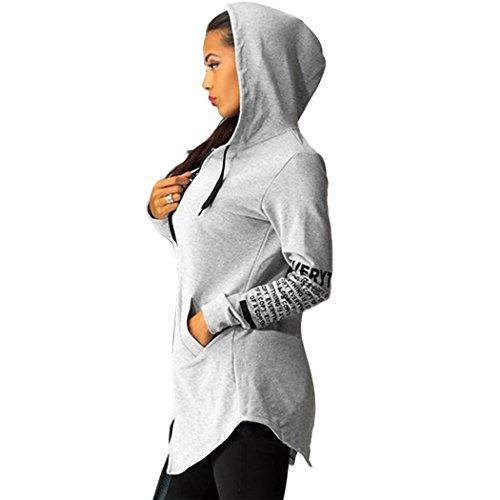 Blouson Hoodie Glissi Pull Pullover Tops Sport Teamyy Gris Capuche femme Sweatshirt Lettres Ix07CwR