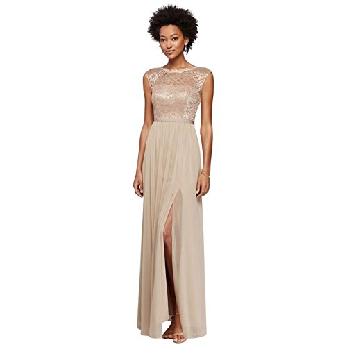 (Long Bridesmaid Dress with Lace Bodice Style F19328, Gold Metallic, 10 )