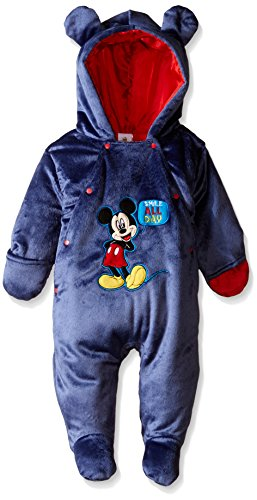 Disney Baby-Boys Newborn Smile All Day' Mickey Mouse Pram with Ears, Blue, 0-3 Months ()