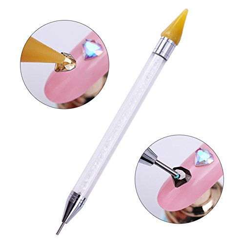CoulorButtons 1 Pcs Crystal Beads Handle Dual-ended Rhinestone Studs Picker Wax Pencil Nail Art Tool (Rhinestone Crystal Beads)