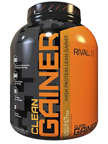 Rivalus Clean Gainer Chocolate Peanut Butter, 5 Pound – Delicious Lean Mass Gainer with Premium Dairy Proteins, Complex Carbohydrates, Quality Lipids, No Banned Substances, Made in USA