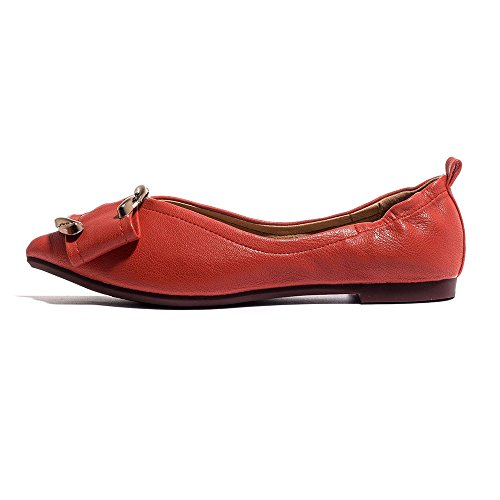 Shoes Shoes Summer Work Flat Yangjiaxuan Pointed Leather Shallow Red Pregnant Women Mouth 7vc7H1BXq