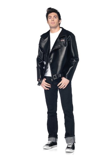Leg Avenue Grease Men's Fax Leather T-Birds Jacket, Black, X-Large