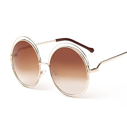 Round Metal Frame Sunglasses - Shopers Variety Women's Big Round Oversized Double Wire Rim Mirror Sunglasses with Metal Frame Retro Vintage XXL Shades