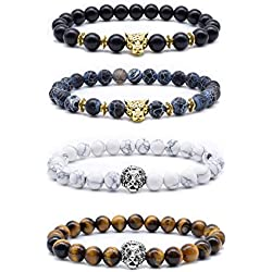 Byson 4 Pcs Volcanic Stone Stretch Bracelet Lava Rock Bead Bracelet for Men Leopard Lion Bracelet Set 8MM Beads Bracelet Accessories