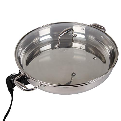Electric Skillet By Cucina Pro - 18/10 Stainless Steel with Tempered Glass Lid, 16' Round