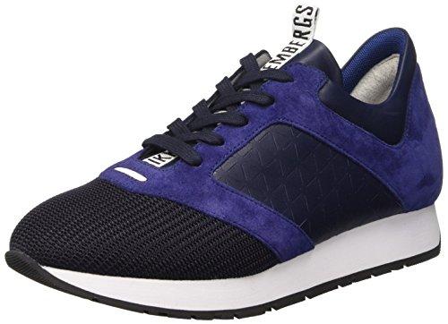 Bikkembergs Runn-er 656 L.Shoe M Fabric/Leather, Sandalias con Plataforma para Hombre Azul (Black/Origami)