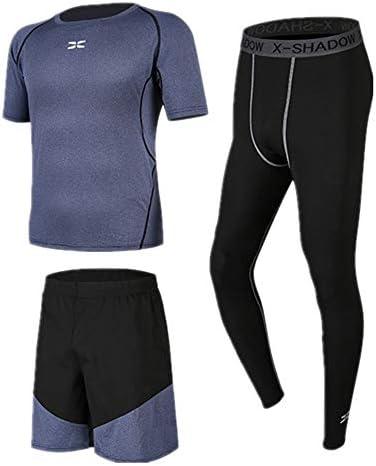 レディースジャージ上下セット ランニングショーツコンプレッションレギンス3個メンズフィットネスウェア半袖セット 吸汗 速乾 (Color : Black blue, Size : L)