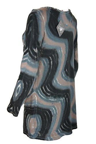 Spazio Donna Langarmshirt/Pullover mit interessantem Muster und Spitze, mehrfarbig, 38
