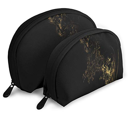 Makeup Bag Gold And Black Wallpapers Portable Shell Storage Bag For Women Halloween Gift Pack - 2 -