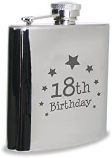 Hip Flask - 18th Birthday Design, Stainless Steel, Hipflask For Men, Birthday Gifts
