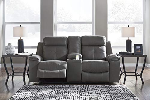 Farmhouse Living Room Furniture Signature Design by Ashley Jesolo Modern Faux Leather Double Reclining Loveseat with Center Console, Dark Gray farmhouse sofas and couches