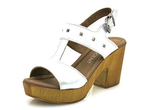 Innocente Del Di 114 Sandalo Prata Scarpe ss05 Cuoio Tallone Dell'alto Ladies EYqWOa