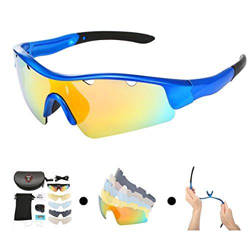 69c71649304 OUTERDO REVO Sports Polarized Sunglasses for Men and Women Cycling UV Eye  Protection Windproof Glasses with 5 Lens for Outdoor Golf Running Driving  Hiking ...
