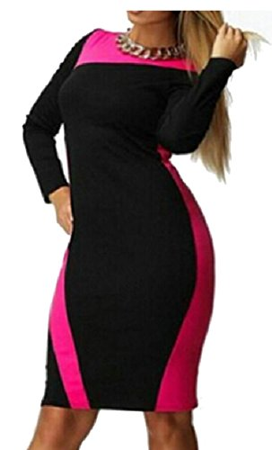 Fit Club Red Hip Color Stitching Women Dresses Package L Sleeved Long Jaycargogo Collar Slim Rose EwO1qx0