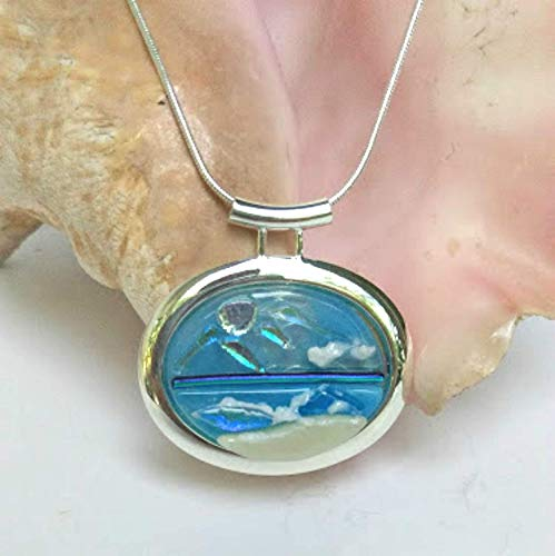 - BAYSHORE BEACH Dichroic Fused Glass Jewelry Pendant Necklace for Ocean Sea and Nature Lovers Silver Plated