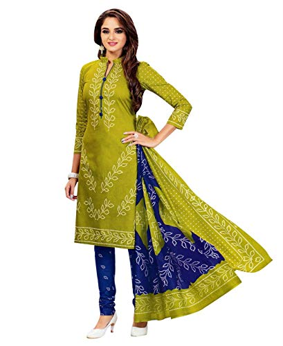 Ladyline Readymade Bandhej Printed Pure Cotton Salwar Kameez Dress Indian (Size_42/ Parrot Green)