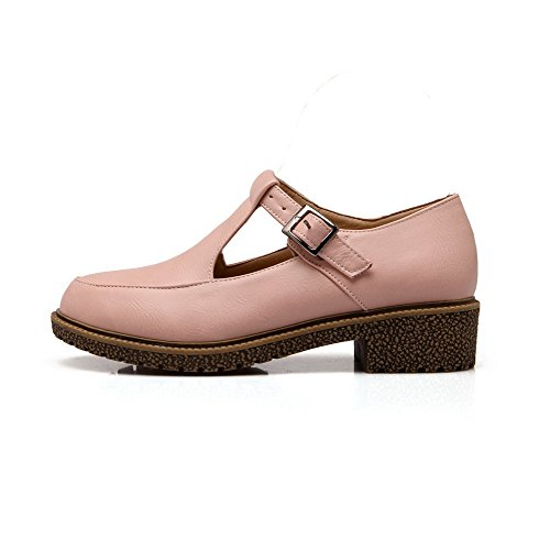 Round Material Toe WeiPoot Heels Pink Closed Soft Buckle Shoes Pumps Low Solid Women's 1CZwqOR