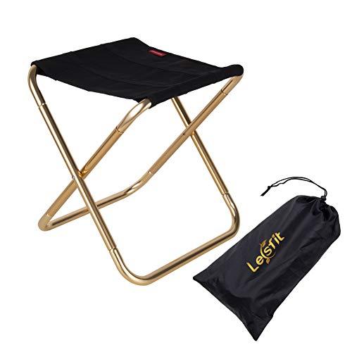 Lesfit Draagbare opvouwbare kruk, outdoor opvouwbare lichtgewicht kamp aluminium krukken stoel voor kamperen, vissen…