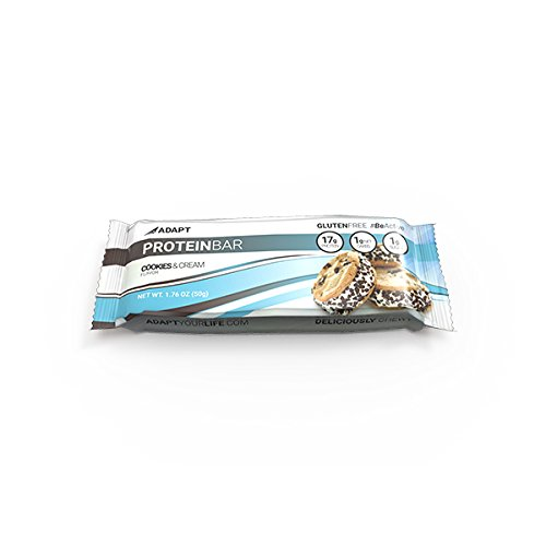 Adapt Your Life Protein Bar, Cookies And Cream, 17g Protein, 1 Net Carbs, 184 Cals, Low Carb Bars, Gluten Free, Soy Free, No Added Sugar, 1.76 oz Bar, 10 Count