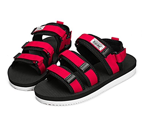 Mens Outdoor Fisherman Leather Beach Athletics Walking Hiking Sandals 6118 Red Sttv1jD