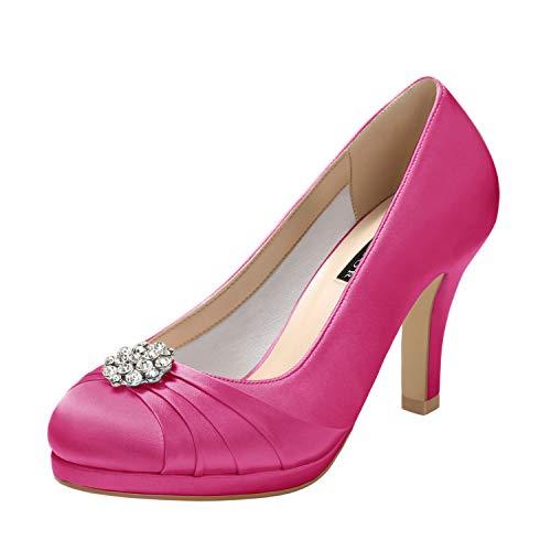 ERIJUNOR E0101 Women Comfort Mid Heel Pumps Closed-Toe Satin Wedding Evening Party Dress Shoes Hot Pink Size10