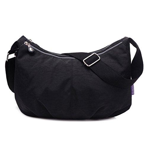 TianHengYi Women's Simple Style Dumpling Shape Nylon Cross-body Shoulder Bag Lightweight Messenger Bag Black