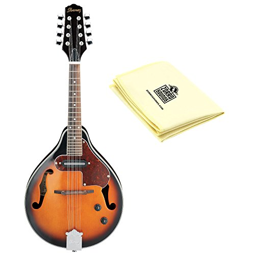 Ibanez M510EBS A-Style Spruce Top Mandolin in Brown Sunburst High Gloss With Polishing Cloth by Ibanez