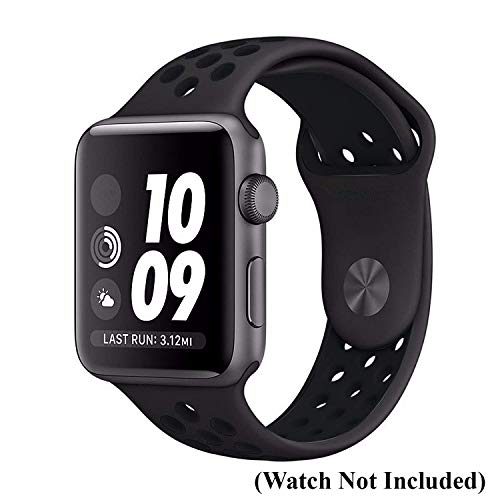 Tingtong Soft Silicone Sport Strap Band for iWatch 42mm/44mm Apple Watch Series 1/2/3/4/5 (Black & Black Air Hole)