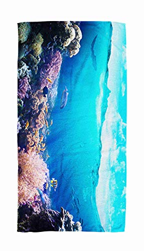 (Asdecmoly Swimming Towel Cloth Quick-Drying Bath Towel 30X60 Inch Underwater View The Coral Reef Outdoor Beach Towel Travel Camping Spa Blanket)