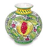 Hand Painted Italian Ceramic Frutta Mista Vase Handmade in Italy