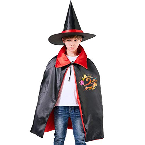 Wodehous Adonis Bass Clef Musical Symbol Childrens' Halloween Costumes Wizard Witch Cloak Cape Robe And Hat