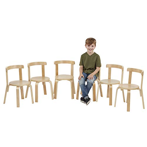 (ECR4Kids Bentwood Curved Back Chair 6-Pack, Sturdy Backed Stools for Kids and Toddlers, Natural (Set of 6))