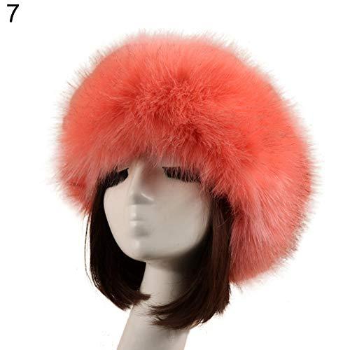 (ink2055 Cozy Warm Hair Band Earmuff Cap Faux Fox Fur Headband with Stretch for Women - Pink )