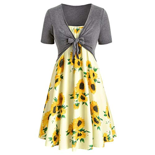 Kulywon Fashion Women Short Sleeve Bow Knot Bandage Top Sunflower Print Mini Dress Suits Yellow ()