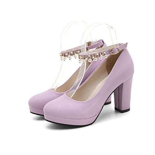 Talons Femmes amp;S Ronde Talon Bouche Profonde MEI à Tête Chaussures Purple Bloc Peu fR1Owq