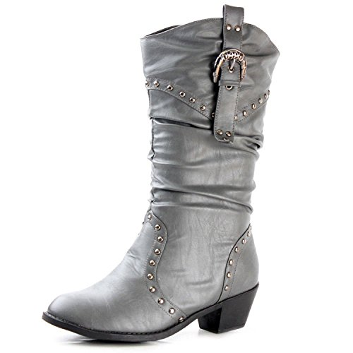 West Blvd Womens MOSCOW COWBOY Boots Cowgirl Western Roper Studded Slouch Shoes, Grey Pu, US 6.5